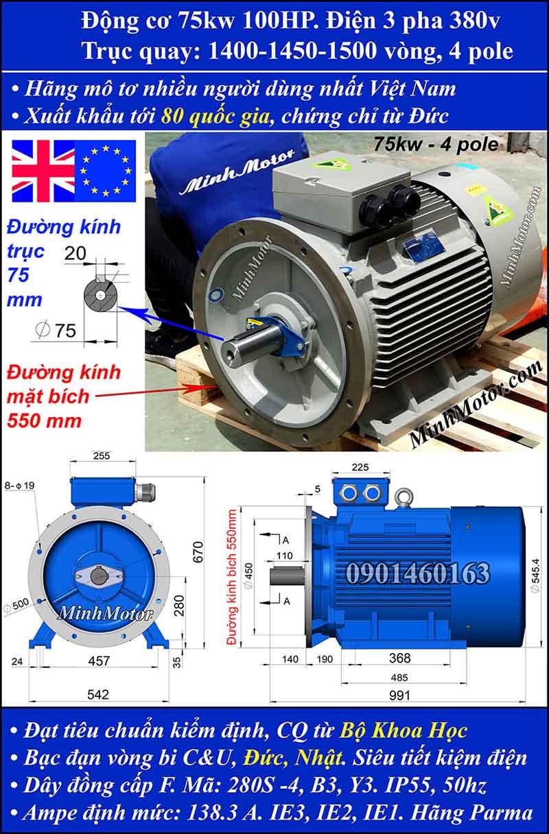 Motor 75HP 100kW 1400-1500 vòng phút tua chậm, mặt bích
