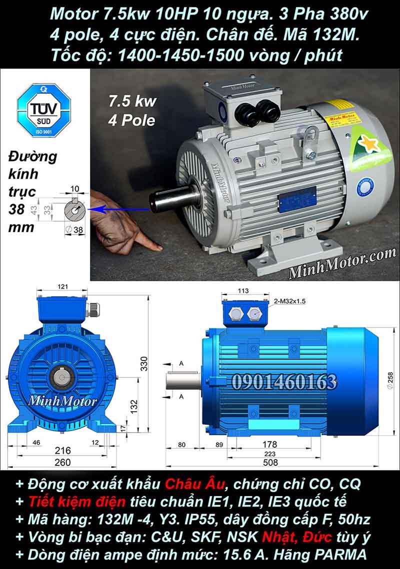 Motor 10HP 7.5kW 1400-1500 vòng phút tua chậm, chân đế