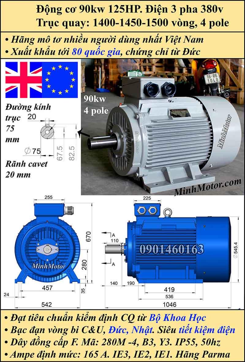 Motor 125HP 90kW 1400-1500 vòng phút tua chậm, chân đế