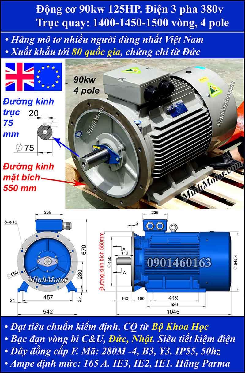 Motor 125HP 90kW 1400-1500 vòng phút tua chậm, mặt bích