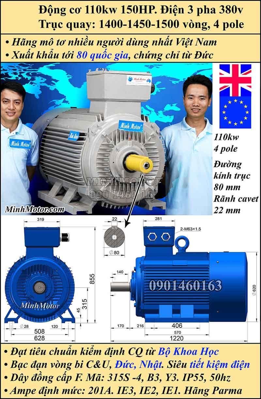 Motor 150HP 110kW 1400-1500 vòng phút tua chậm, chân đế