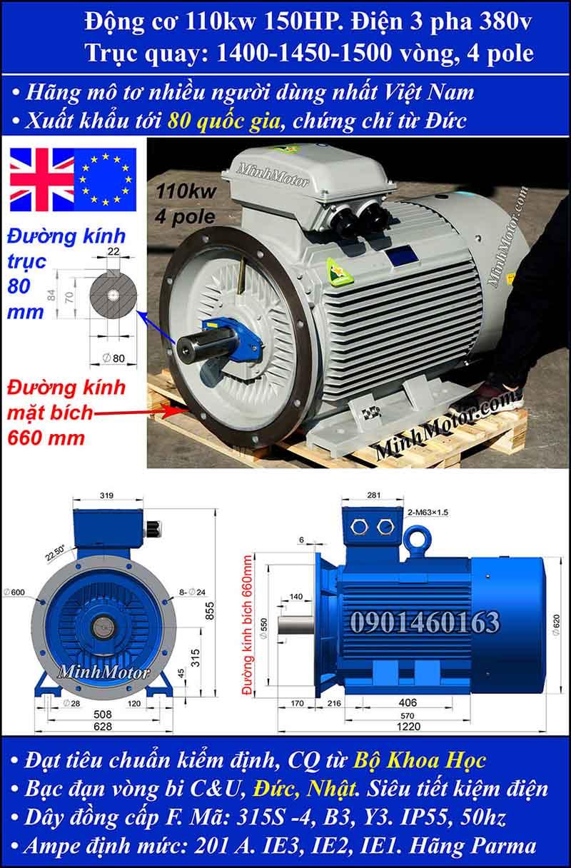 Motor 150HP 110kW 1400-1500 vòng phút tua chậm, mặt bích