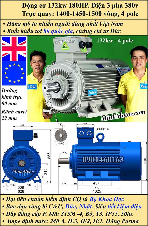Motor 180HP 132kW 1400-1500 vòng phút tua chậm, chân đế