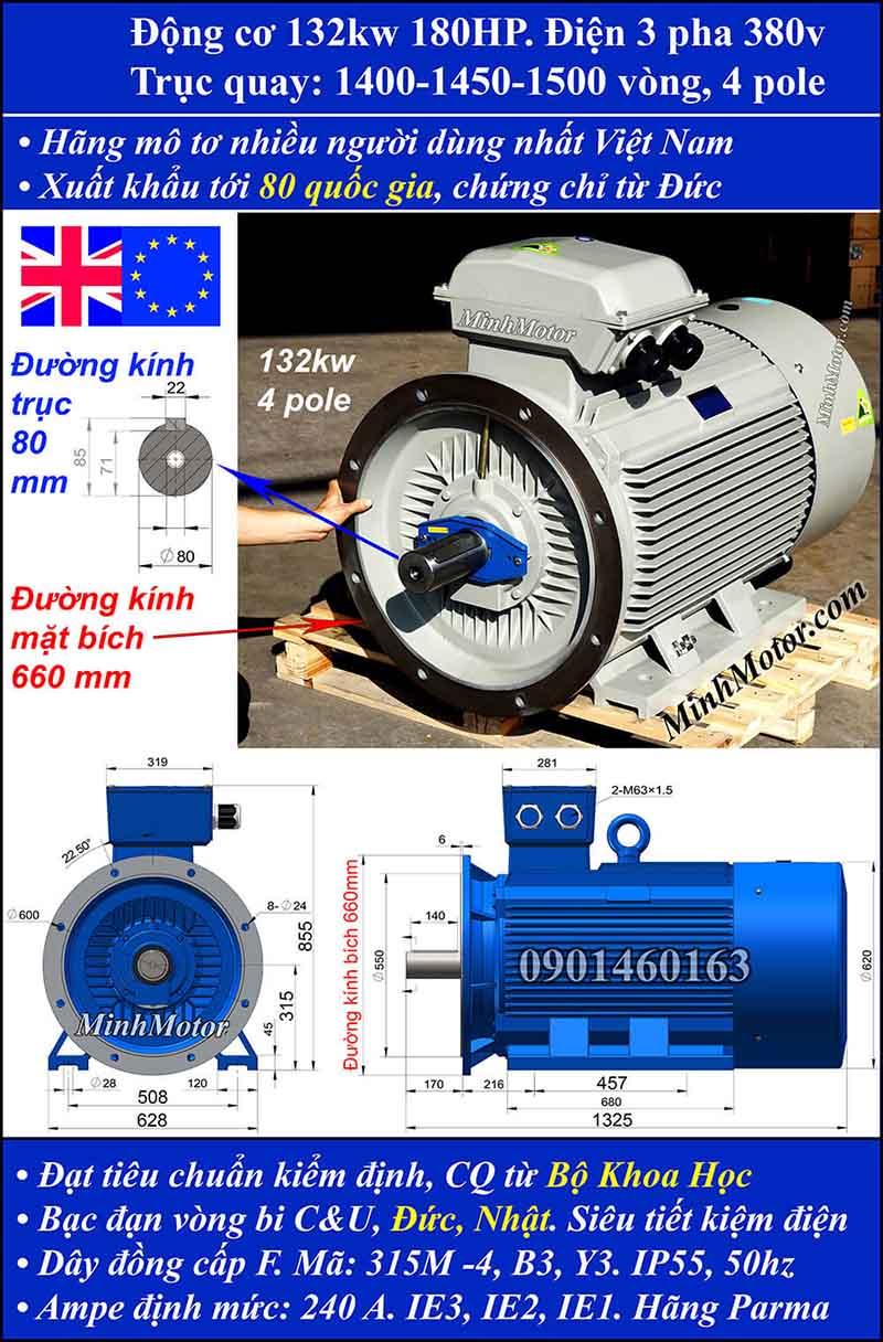 Motor 180HP 132kW 1400-1500 vòng phút tua chậm, mặt bích