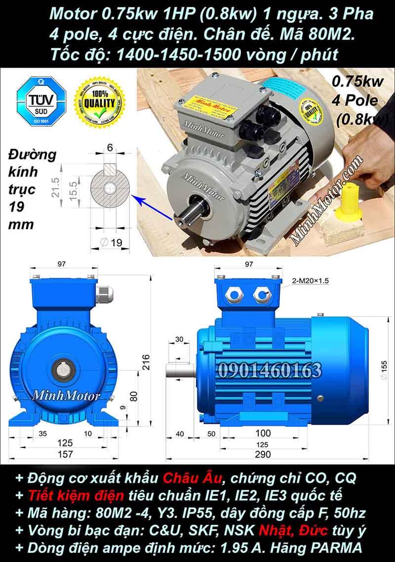 Motor 1HP 0.75kW 1400-1500 vòng phút tua chậm, chân đế