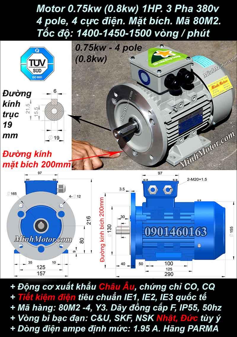 Motor 1HP 0.75kW 1400-1500 vòng phút tua chậm, mặt bích