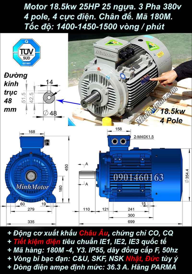 Motor 25HP 18.5kW 1400-1500 vòng phút tua chậm, chân đế