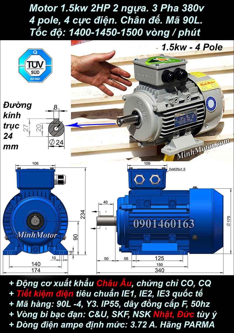 Motor 2HP 1.5kW 1400-1500 vòng phút tua chậm, chân đế