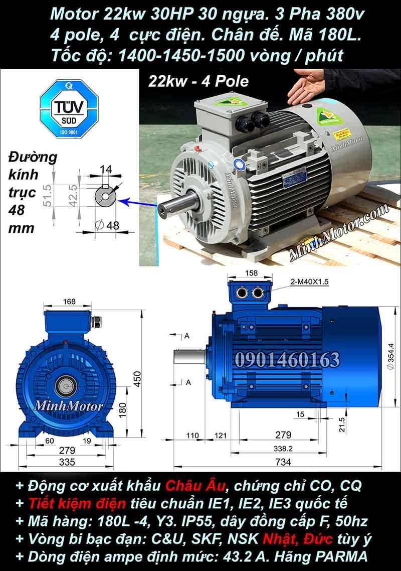 Motor 30HP 22kW 1400-1500 vòng phút tua chậm, chân đế