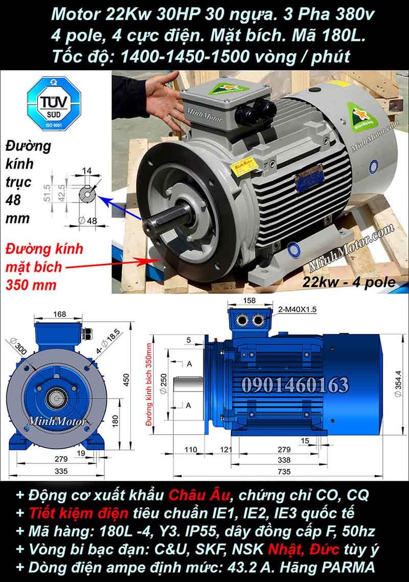 Motor 30HP 22kW 1400-1500 vòng phút tua chậm, mặt bích