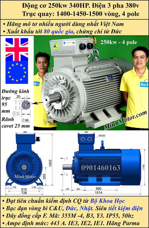 Motor 340HP 250kW 1400-1500 vòng phút tua chậm, chân đế