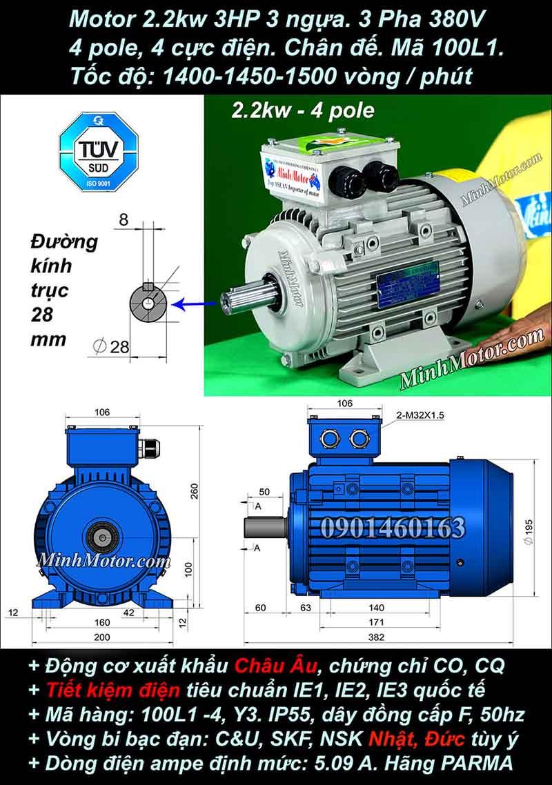 Motor 3HP 2.2kW 1400-1500 vòng phút tua chậm, chân đế