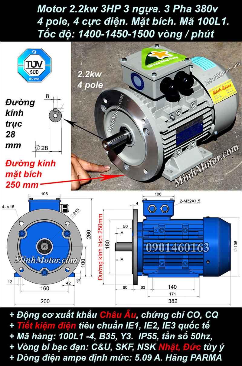 Motor 3HP 2.2kW 1400-1500 vòng phút tua chậm, mặt bích