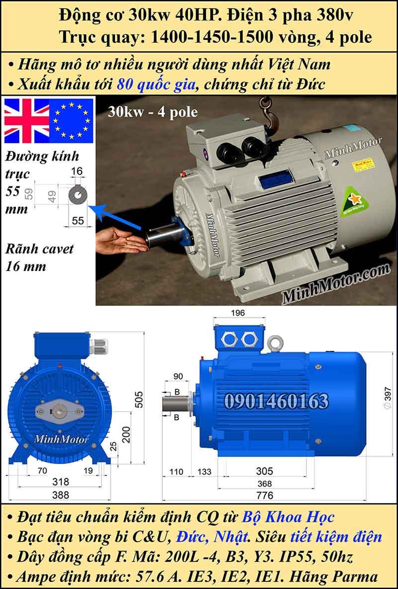 Motor 40HP 30kW 1400-1500 vòng phút tua chậm, chân đế