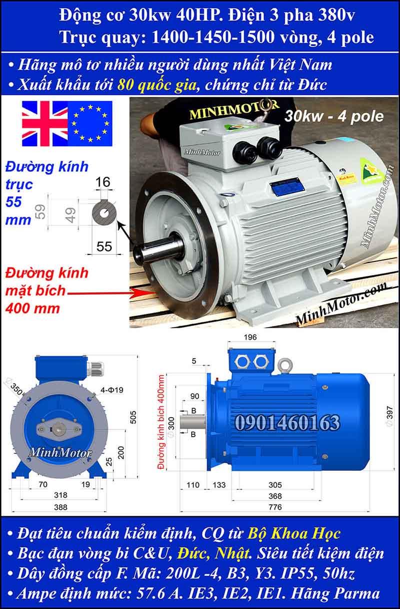 Motor 40HP 30kW 1400-1500 vòng phút tua chậm, mặt bích