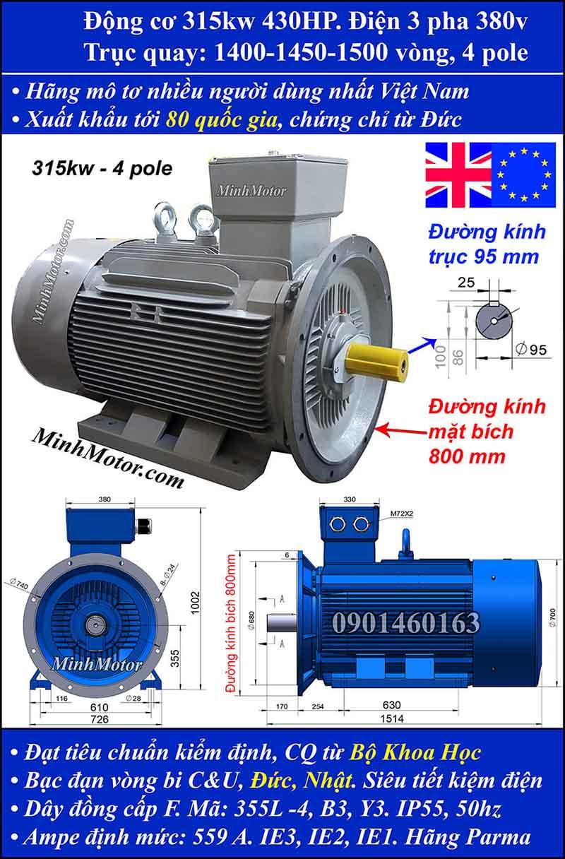 Motor 430HP 315kW 1400-1500 vòng phút tua chậm, mặt bích