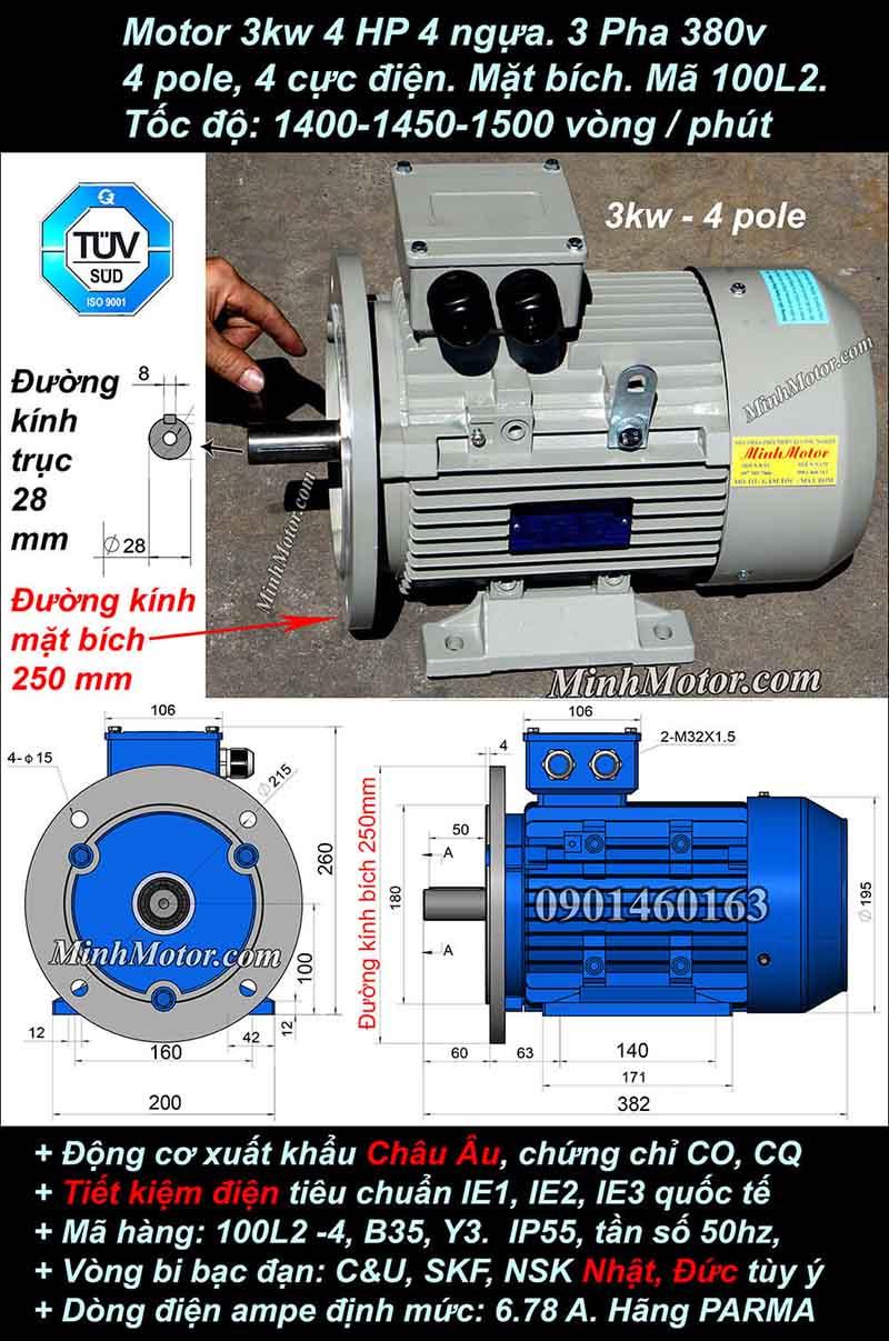 Motor 4HP 3kW 1400-1500 vòng phút tua chậm, mặt bích