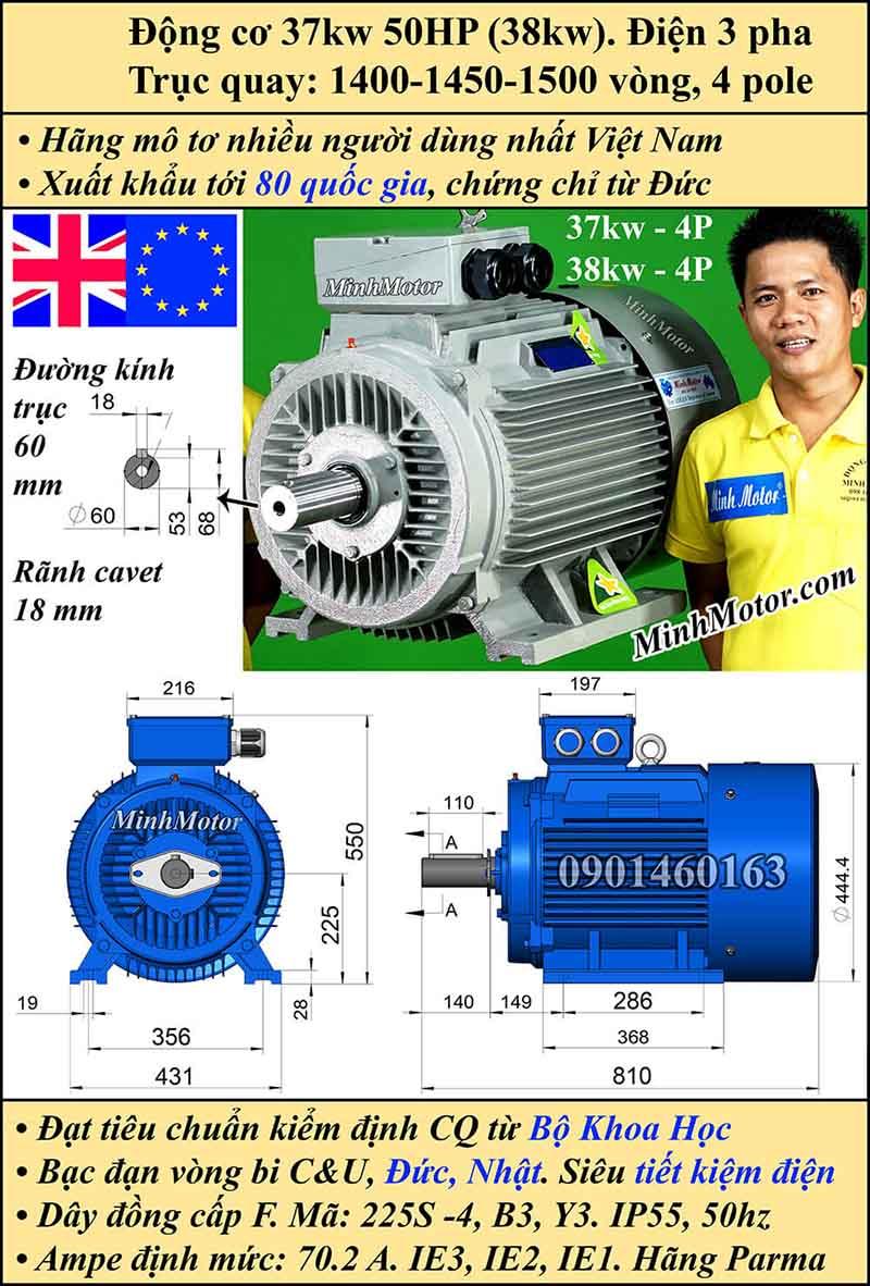 Motor 50HP 37kW 1400-1500 vòng phút tua chậm, chân đế