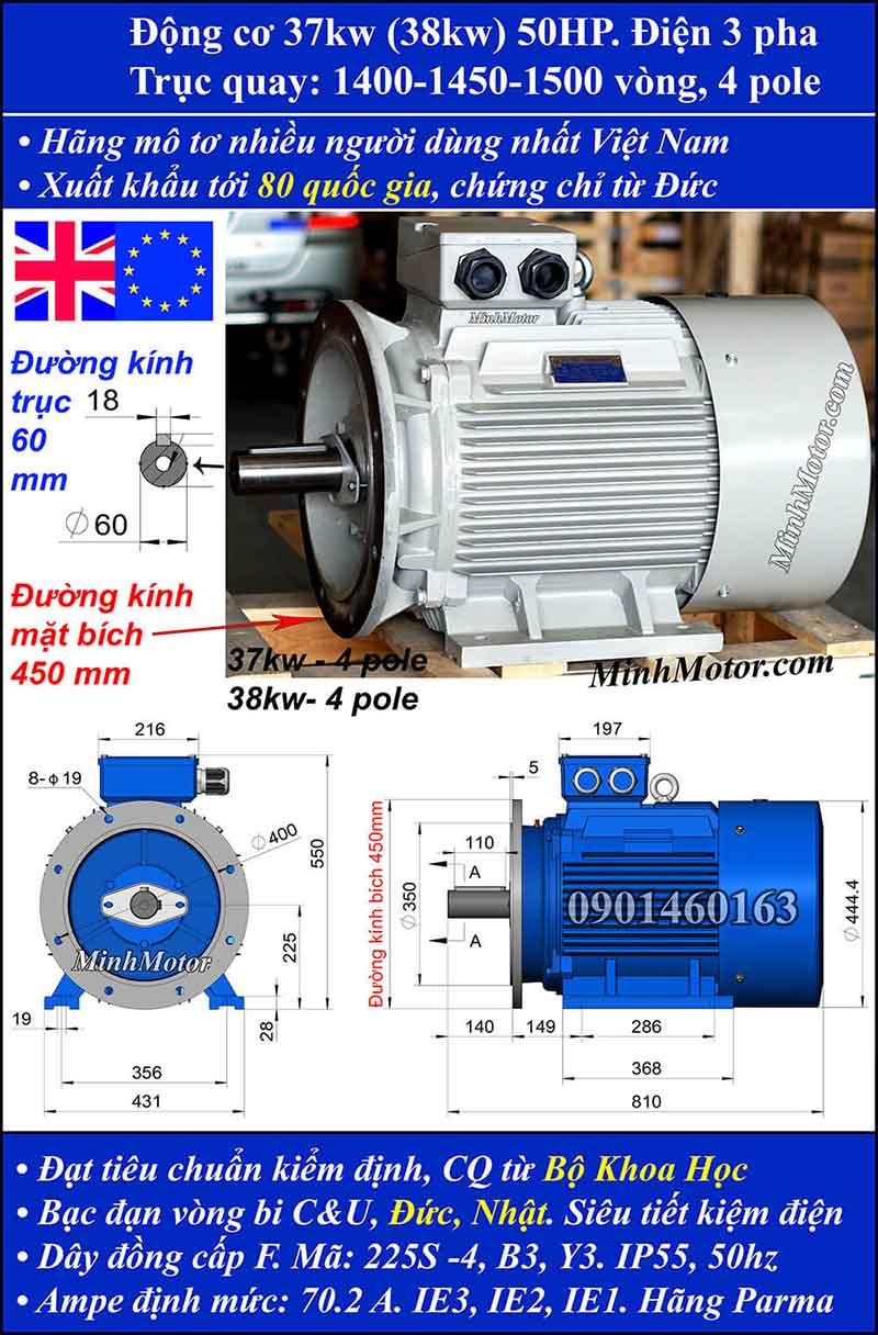 Motor 50HP 37kW 1400-1500 vòng phút tua chậm, mặt bích
