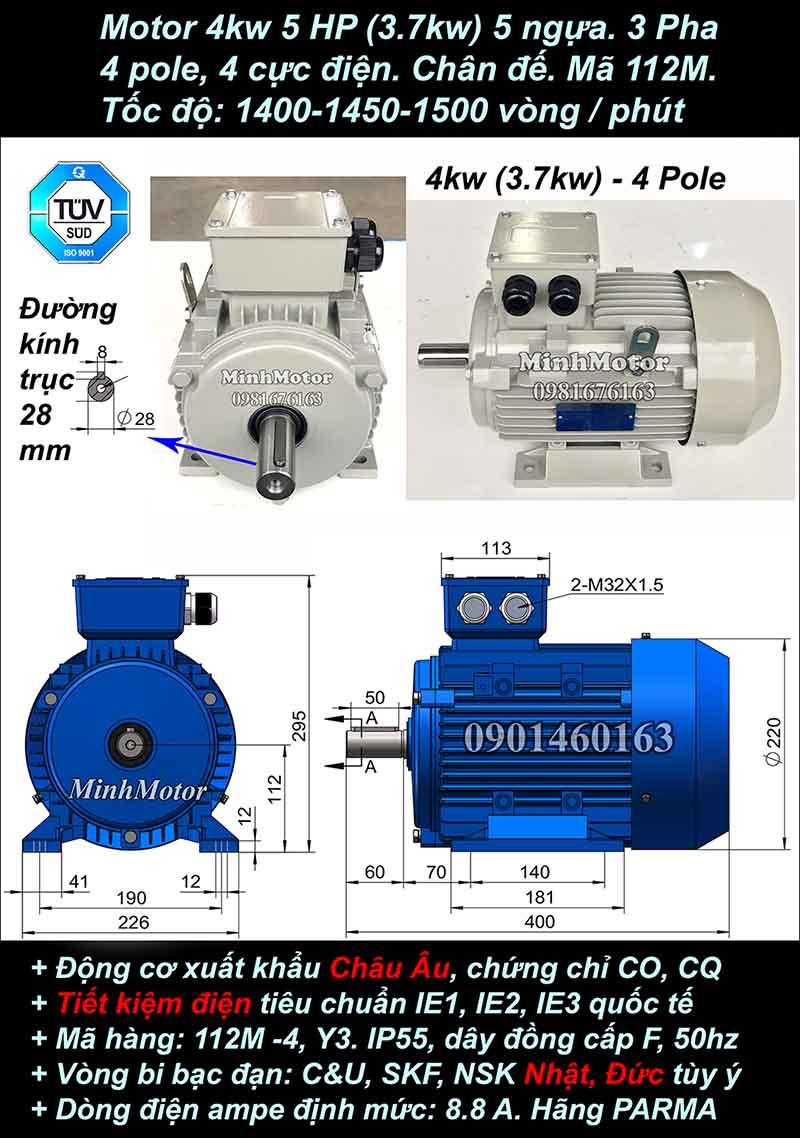 Motor 5HP 3.7kW 1400-1500 vòng phút tua chậm, chân đế