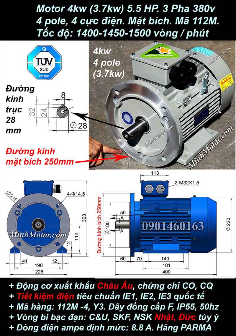 Motor 5HP 3.7kW 1400-1500 vòng phút tua chậm, mặt bích