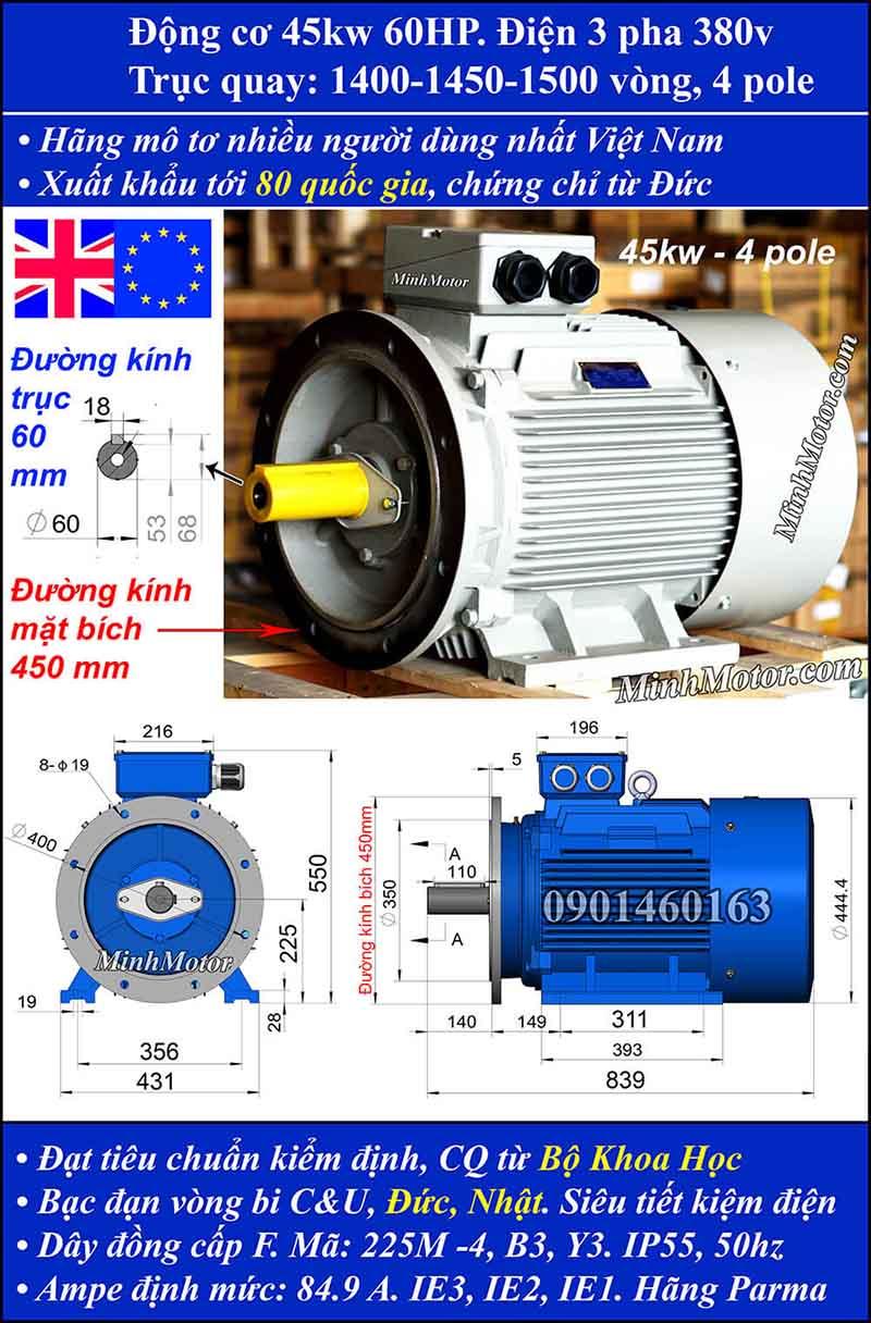 Motor 60HP 45kW 1400-1500 vòng phút tua chậm, mặt bích