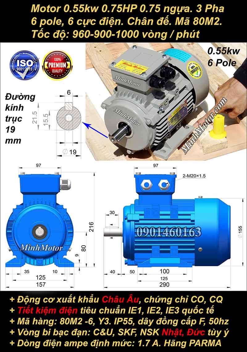 Động cơ điện 0.55W 0.75HP 900-1000 vòng, chân đế