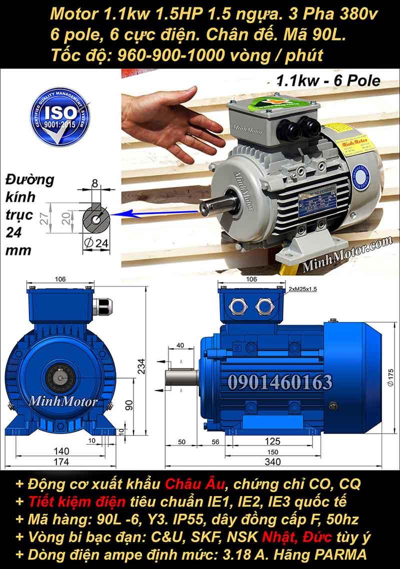 Động cơ điện 1.1W 1.5HP 900-1000 vòng, chân đế