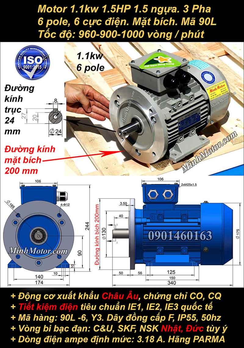 Động cơ điện 1.1kW 1.5HP 900-1000 vòng, mặt bích