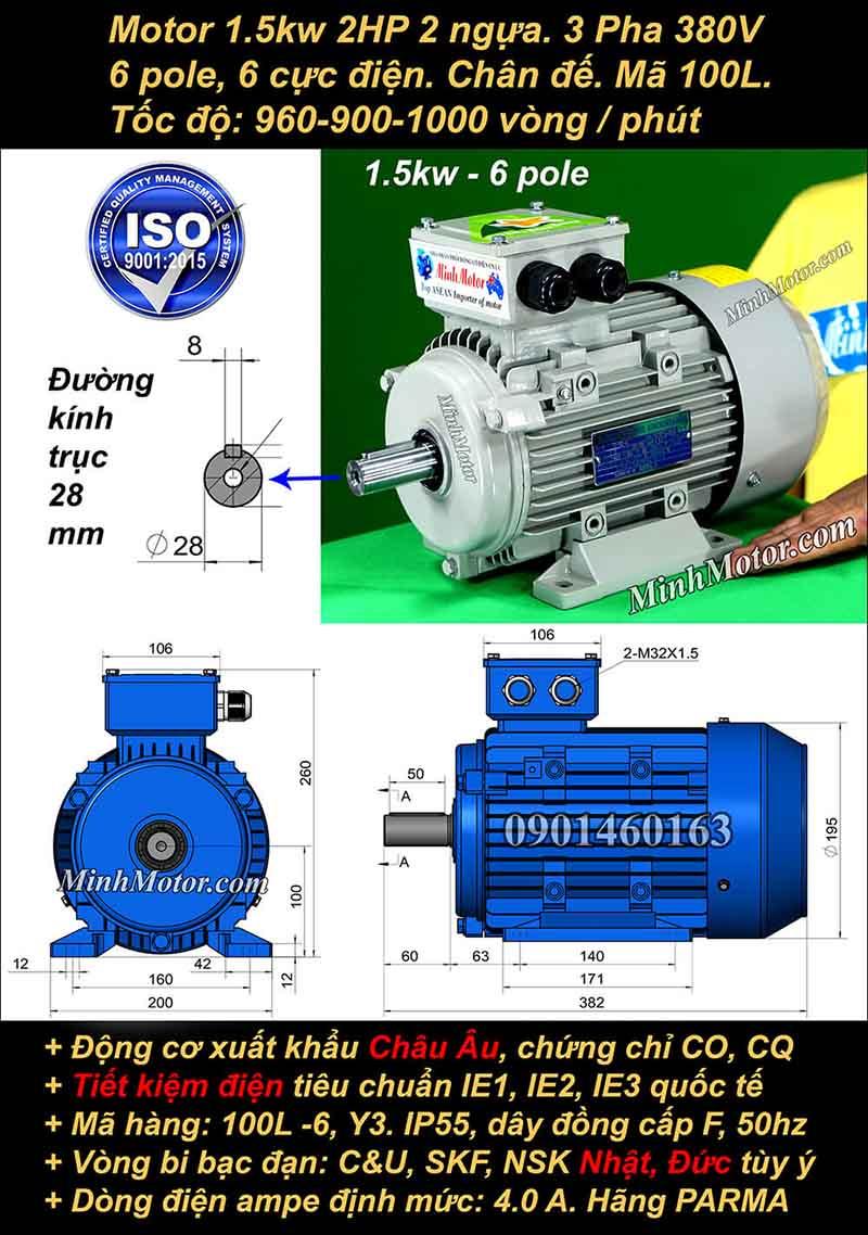 Động cơ điện 1.5W 2HP 900-1000 vòng, chân đế