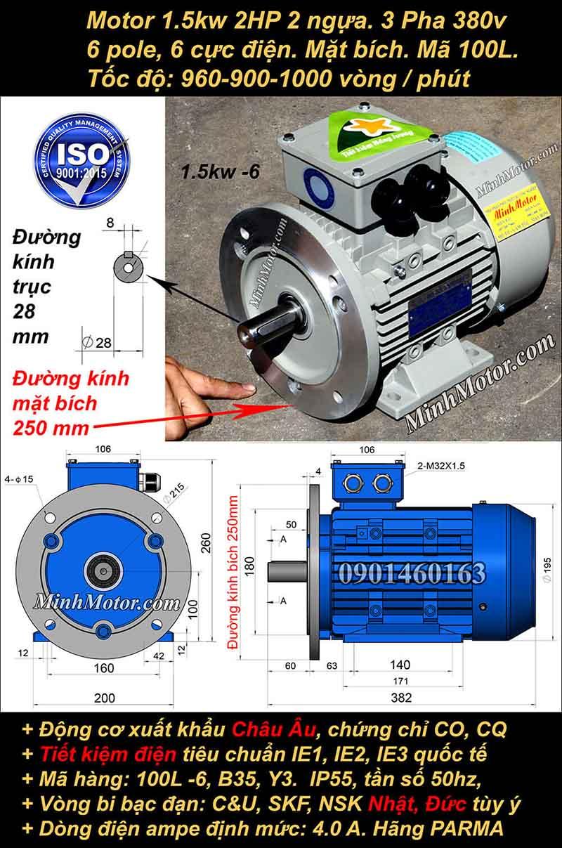 Động cơ điện 1.5kW 2HP 900-1000 vòng, mặt bích