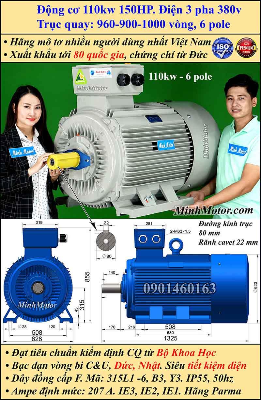 Động cơ điện 110W 150HP 900-1000 vòng, chân đế