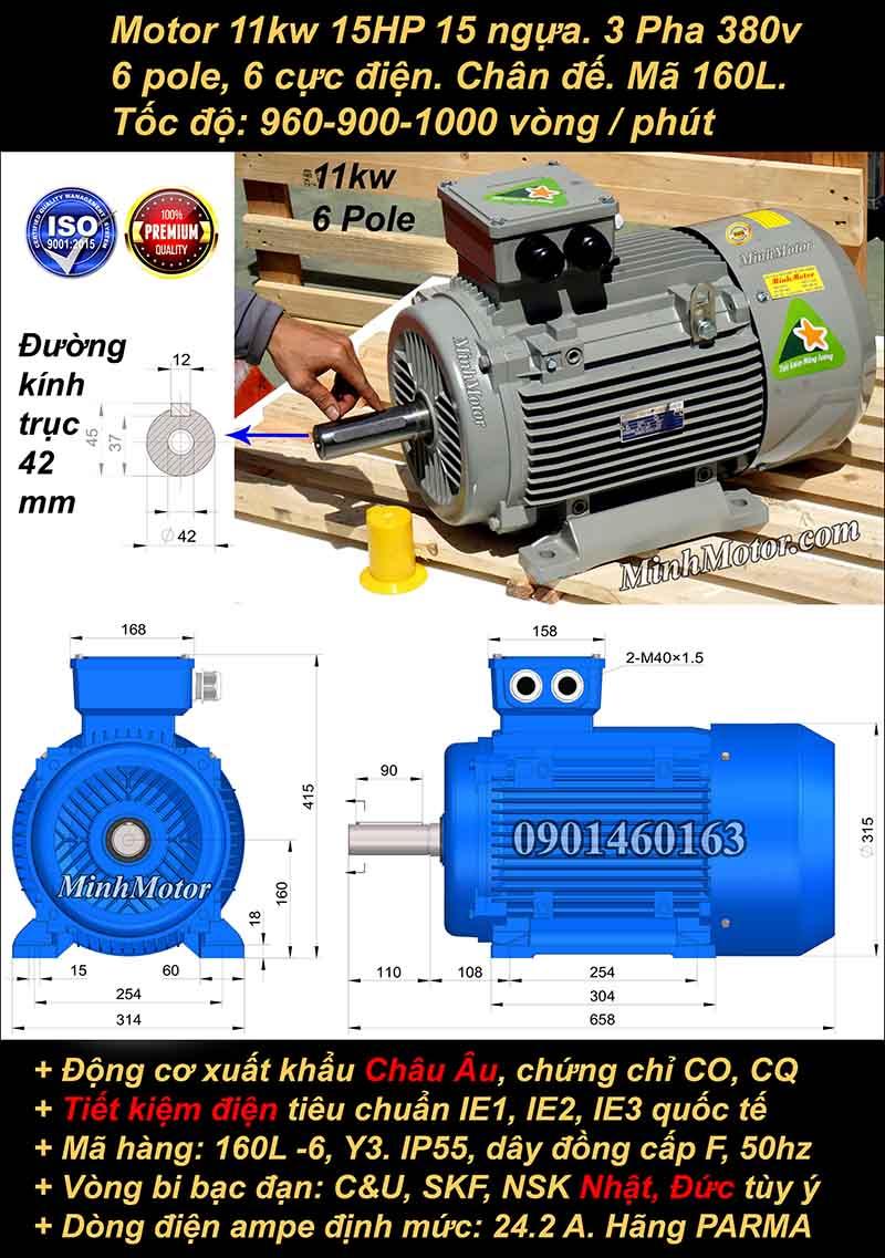 Động cơ điện 11W 15HP 900-1000 vòng, chân đế