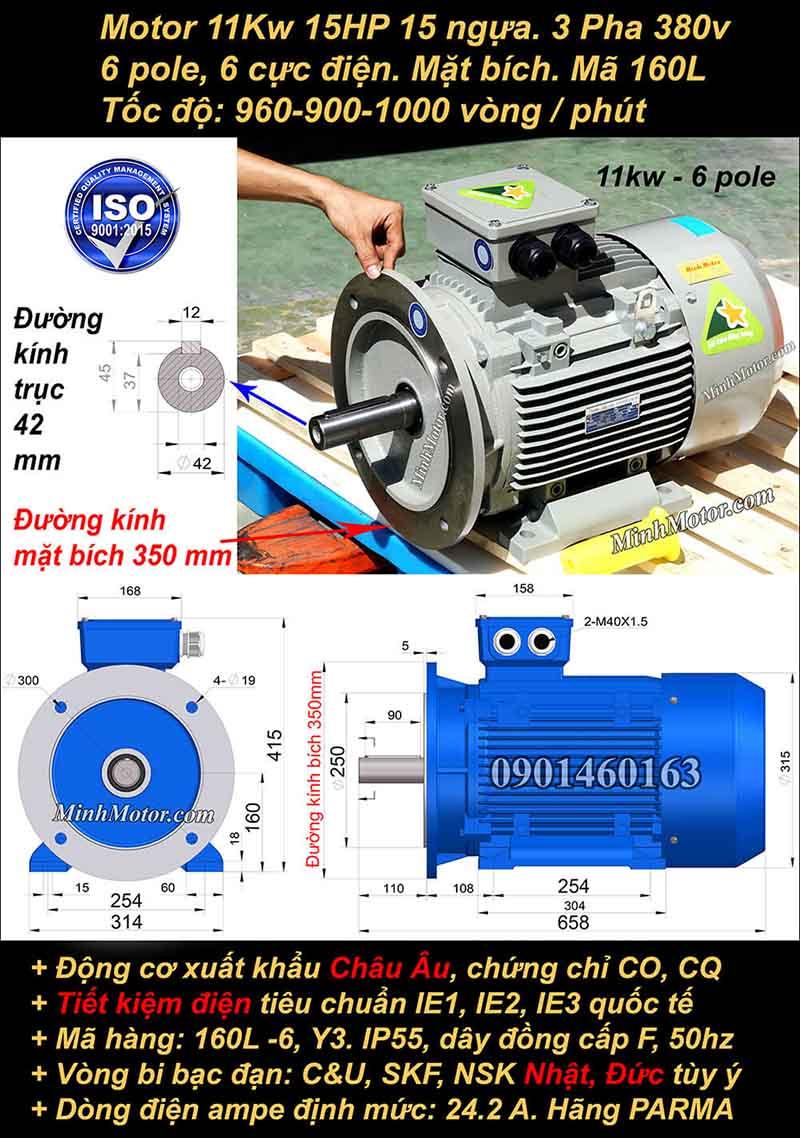 Động cơ điện 11kW 15HP 900-1000 vòng, mặt bích