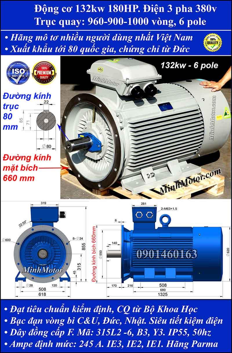Động cơ điện 132kW 180HP 900-1000 vòng, mặt bích