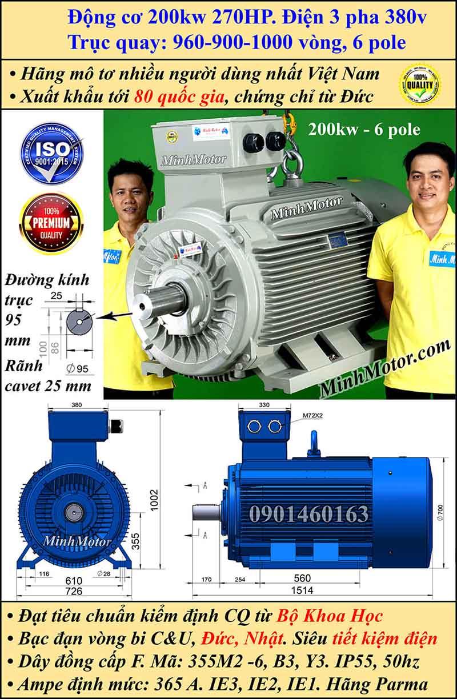 Động cơ điện 200W 270HP 900-1000 vòng, chân đế