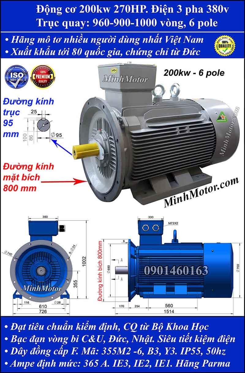 Động cơ điện 200kW 270HP 900-1000 vòng, mặt bích