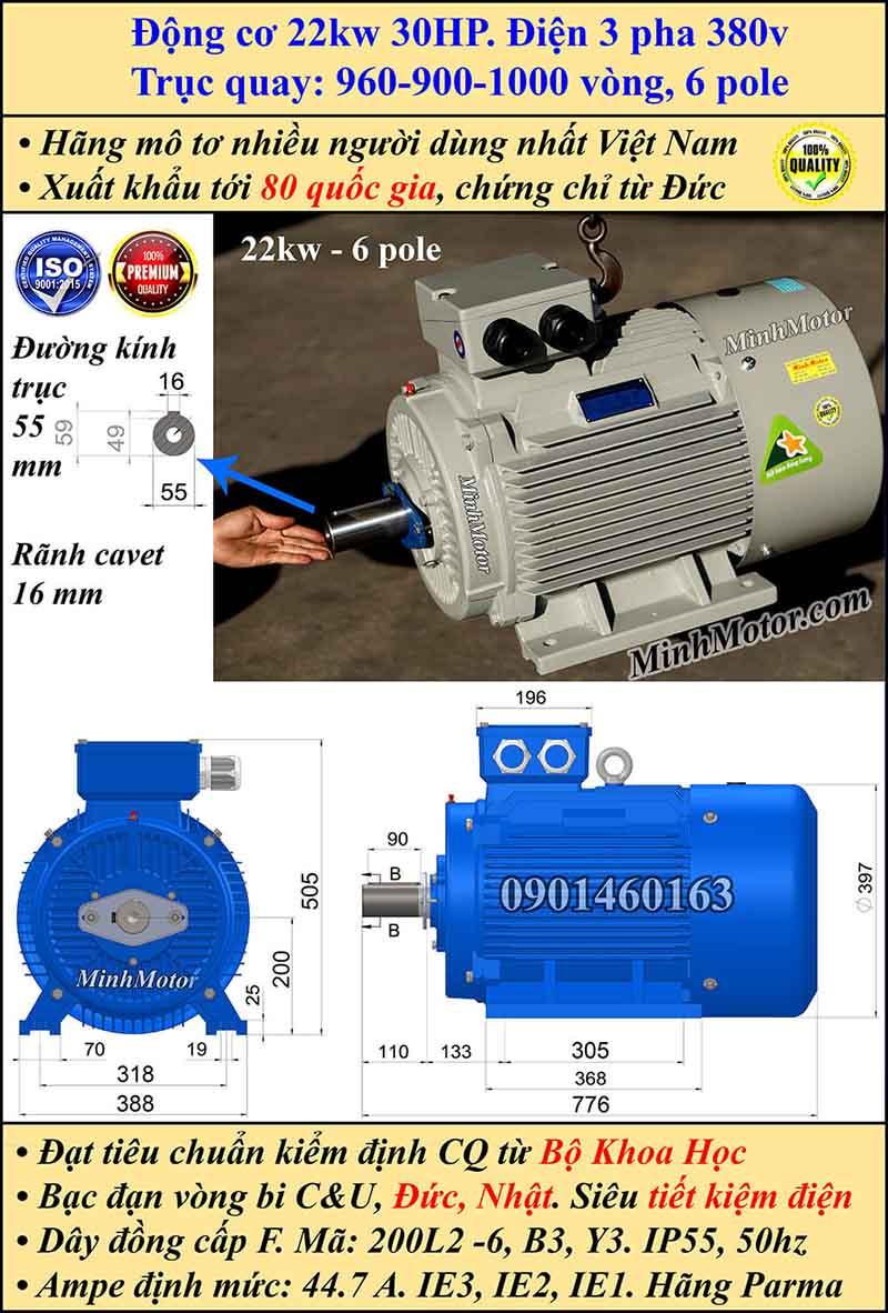 Động cơ điện 22W 30HP 900-1000 vòng, chân đế
