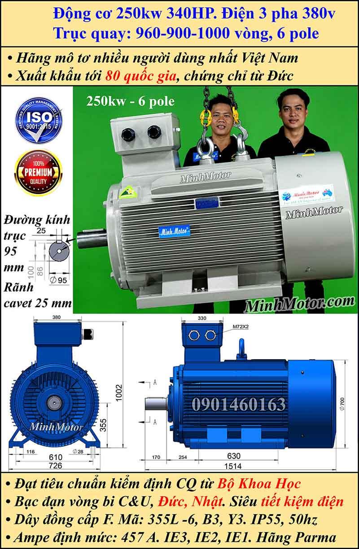 Động cơ điện 250W 340HP 900-1000 vòng, chân đế