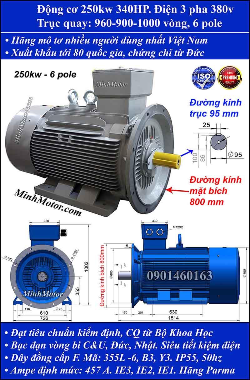 Động cơ điện 250kW 340HP 900-1000 vòng, mặt bích