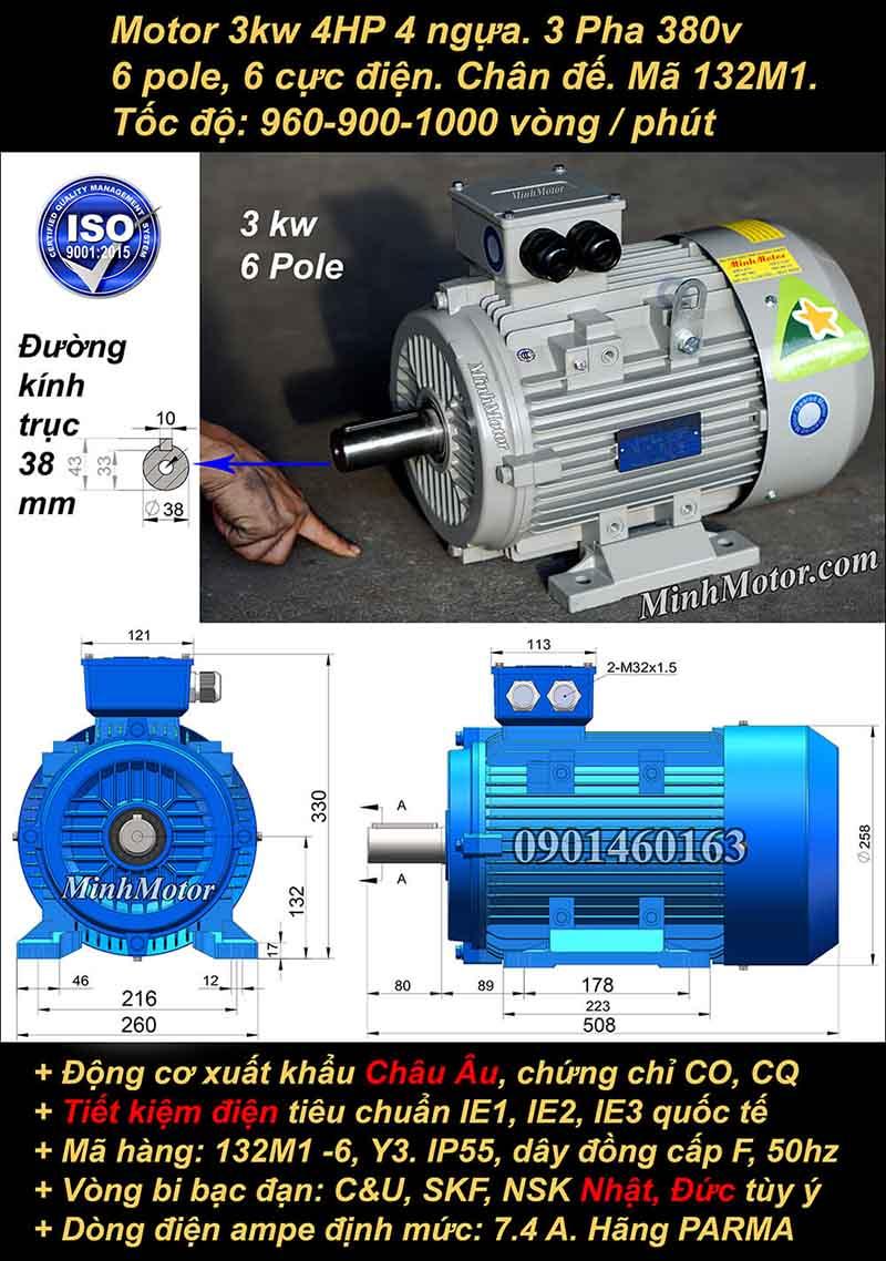 Động cơ điện 3W 4HP 900-1000 vòng, chân đế