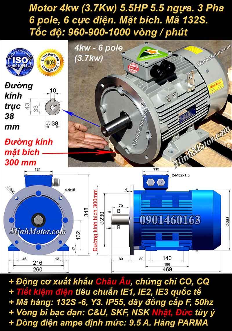 Động cơ điện 3.7kW 5HP 900-1000 vòng, mặt bích
