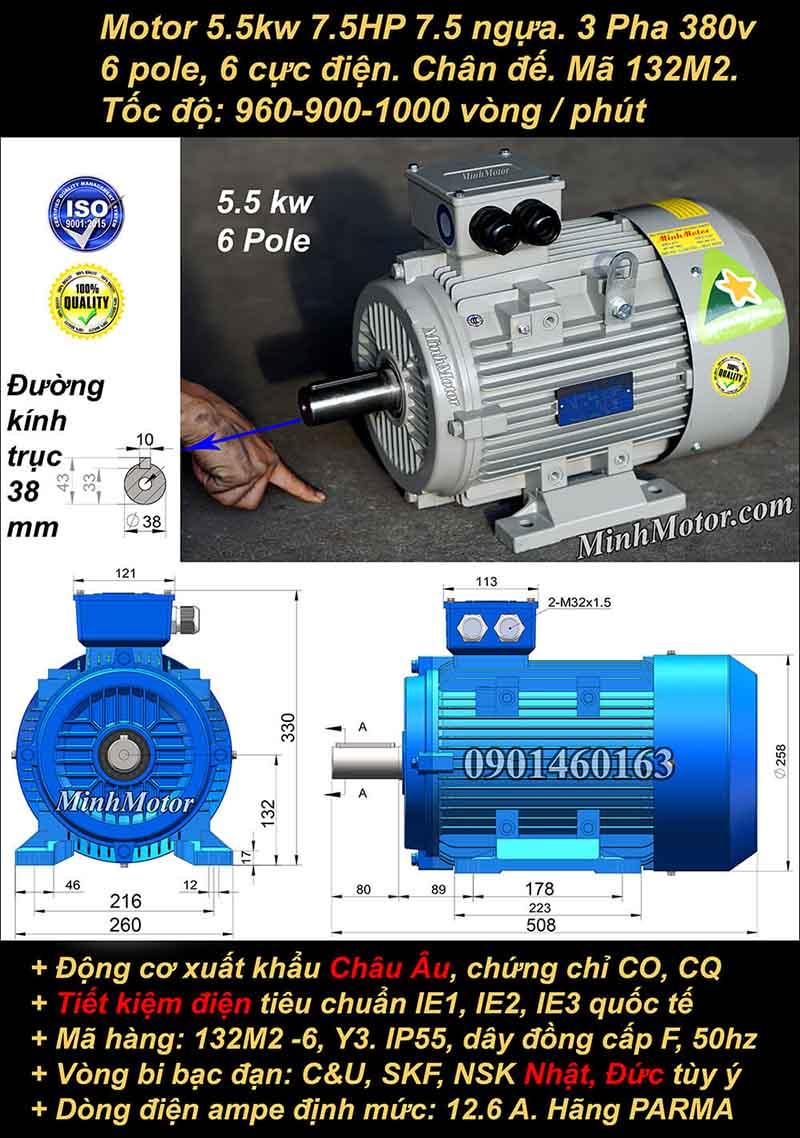 Động cơ điện 5.5W 7.5HP 900-1000 vòng, chân đế