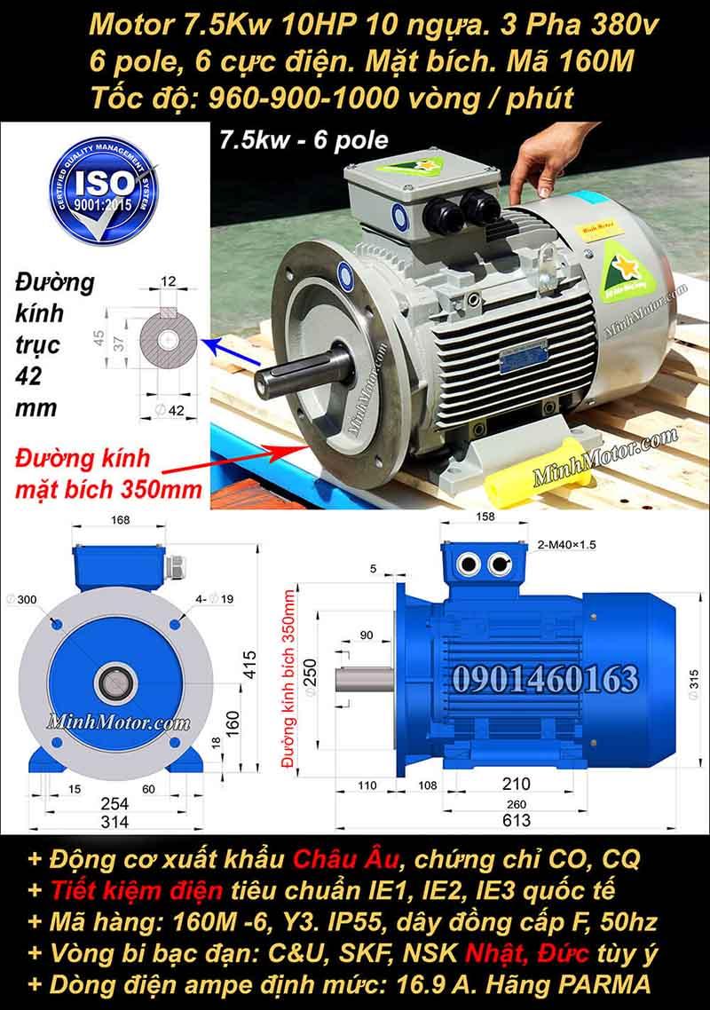 Động cơ điện 7.5kW 10HP 900-1000 vòng, mặt bích