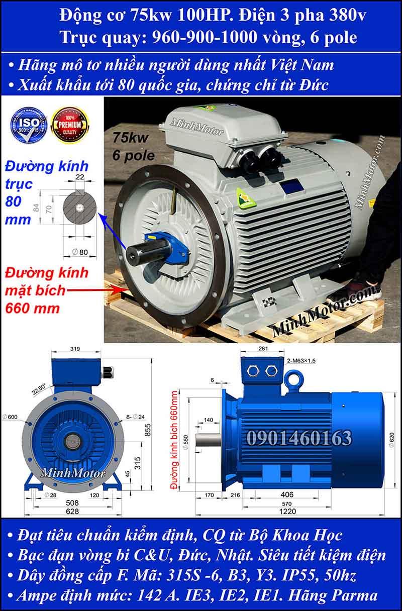 Động cơ điện 75kW 100HP 900-1000 vòng, mặt bích