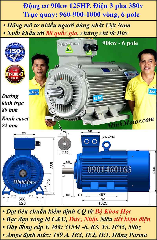 Động cơ điện 90W 125HP 900-1000 vòng, chân đế