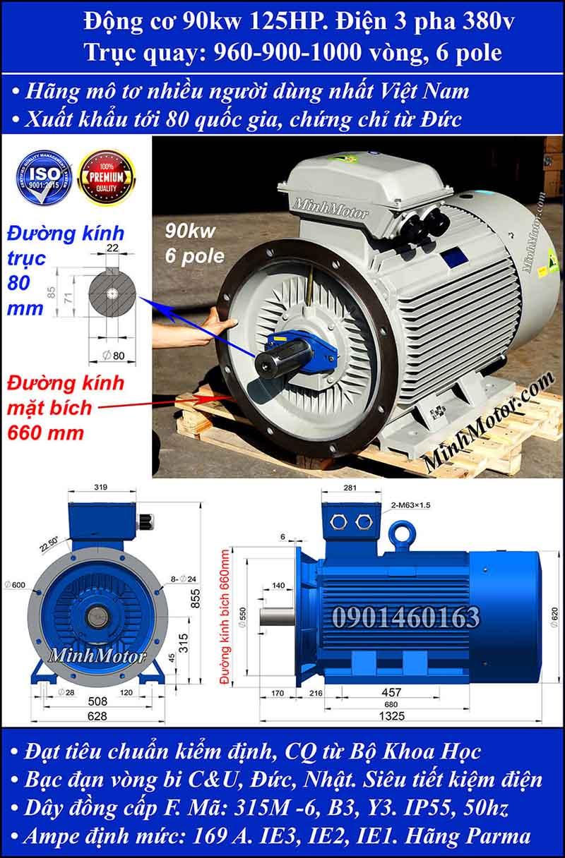 Động cơ điện 90kW 125HP 900-1000 vòng, mặt bích