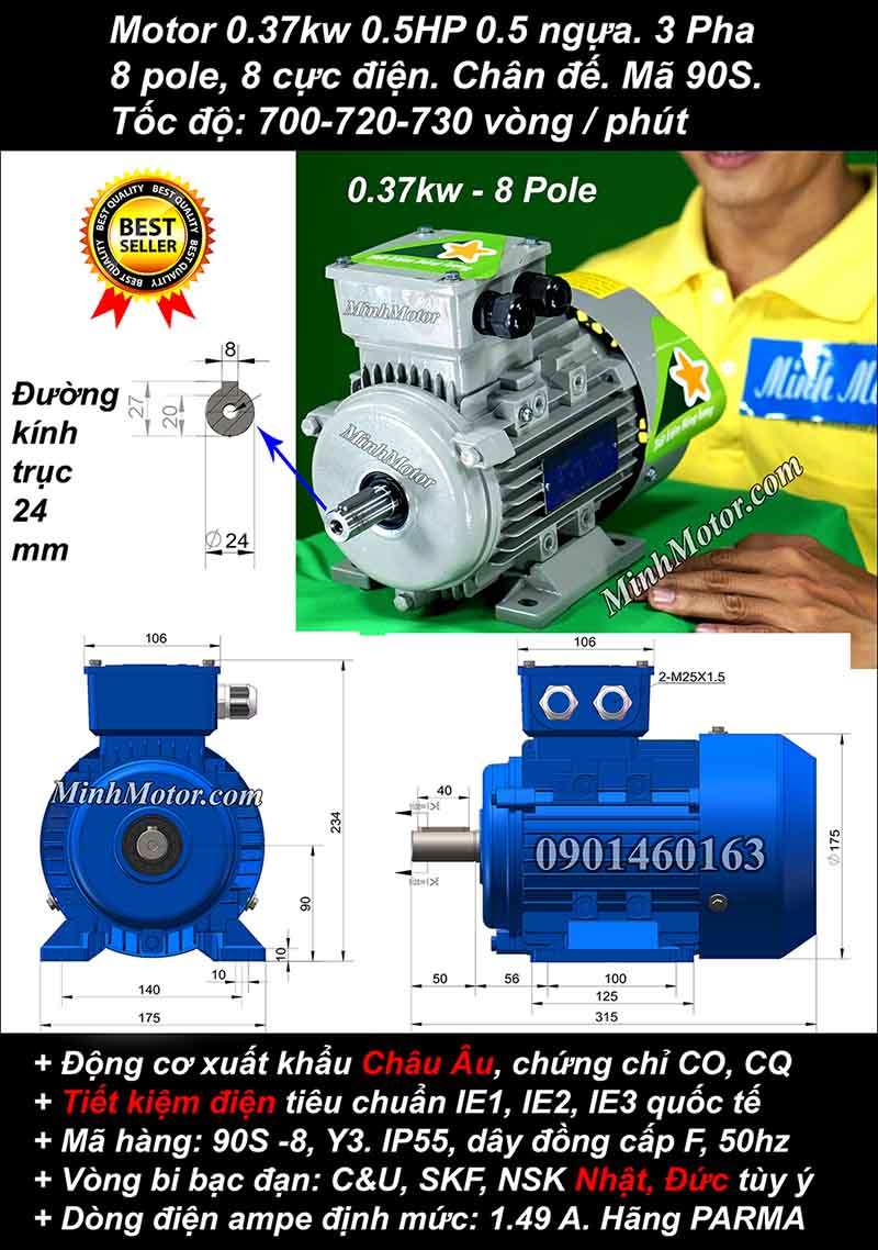 Motor 0.37kW 0.5HP 3 pha 8 cực, chân đế