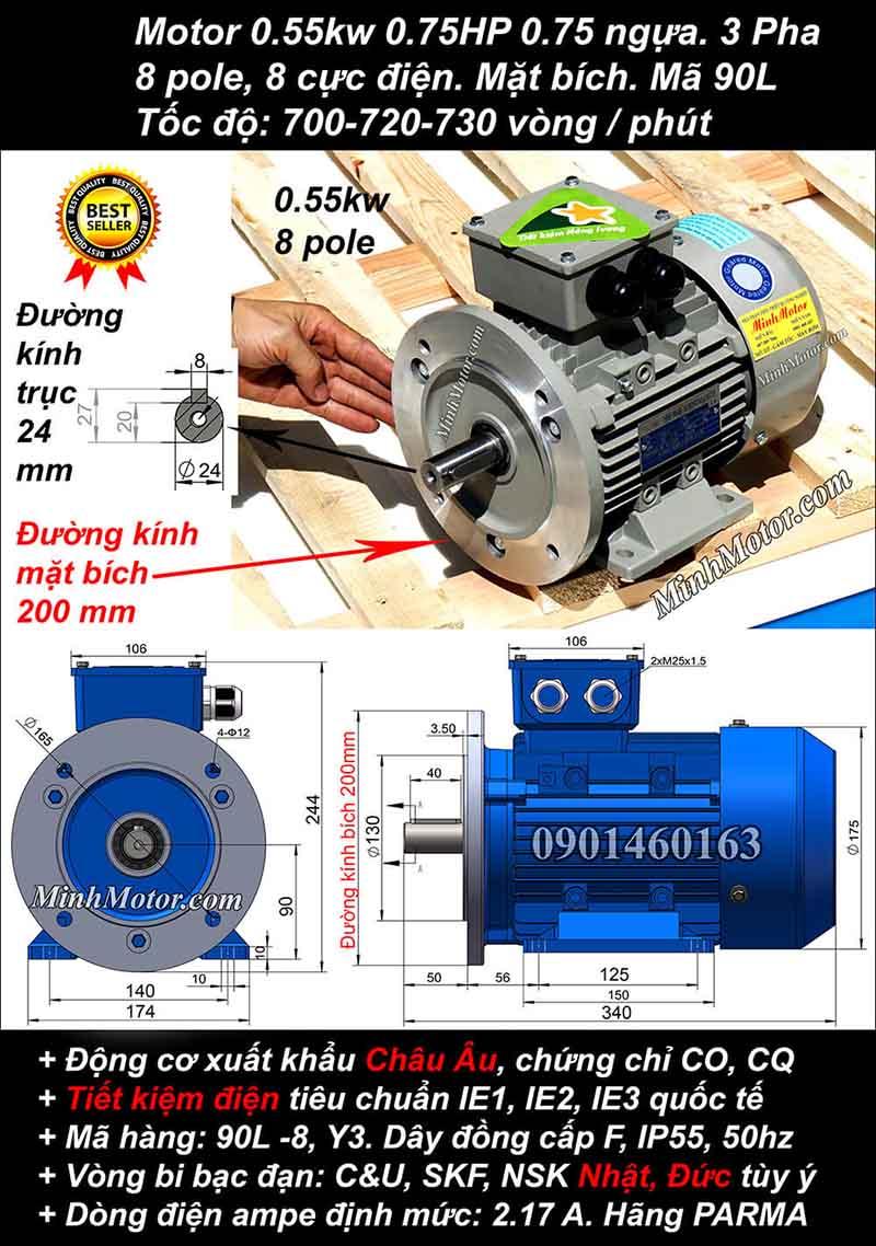 Motor 0.55kW 0.75HP 3 pha 8 cực, mặt bích