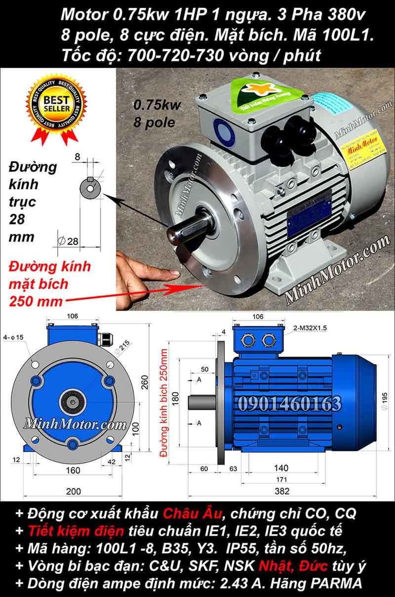Motor 0.75kW 1HP 3 pha 8 cực, mặt bích